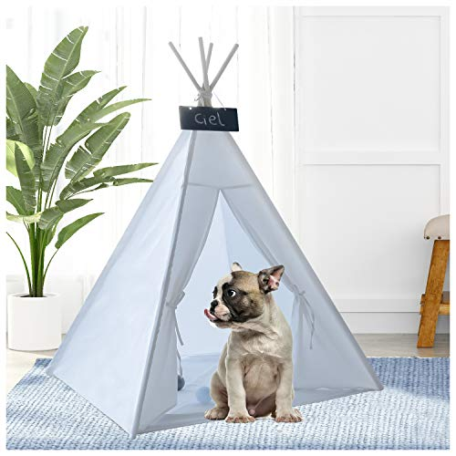 UKadou Pet Teepee for Dogs Cats, Portable Pet Puppy Kitty Tents with Floor Mat, Animal Teepee up to 35lbs