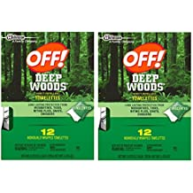 Off Deep Woods Insect Repellent Wipes 12 Towelettes - 2 Pack