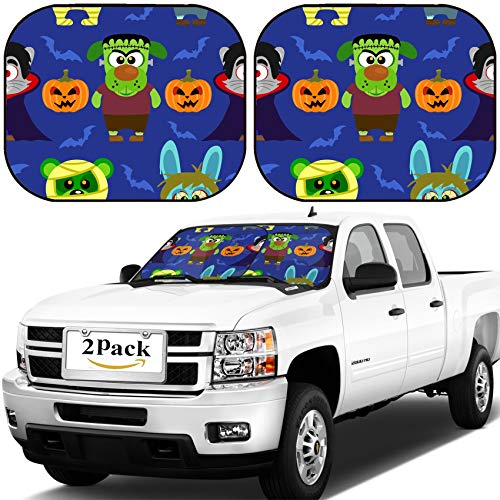 MSD Car Windshield Sun Shade, Universal Fit, 2-Piece for Car Window SunShades, Automotive Foldable Protector Cover, Image ID: 31870702 Seamless with Animal in Halloween Costume -