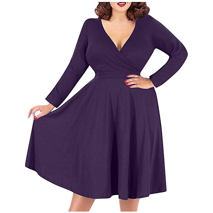 Outtop(TM) Women's Gown A-Line Casual Maxi Dress Plus Size V-Neck Solid Color Long-Sleeved High Waist Formal Dress