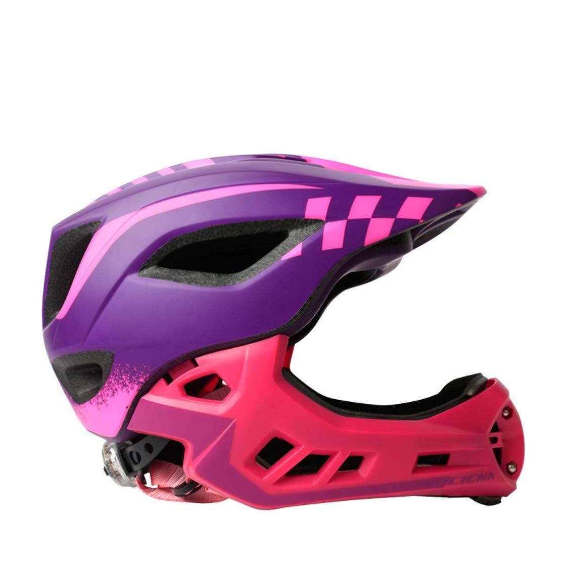Ysayc Abnehmbar Fahrrad Skateboard Kind Helm Draussen Bunt Leicht Multifunktion Autobahn Radfahren Motorrad Schutz Visor Deluxe Helm, lila, M