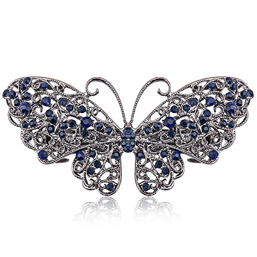 (Vintage Blue Rhinestone Hairwear Butterfly Flower Hair Barrettes Women Hair Clips Retro Bow Hair Accessories Jewelry Imitation Rhodium Plated)