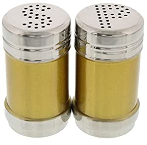 Set of 2 Stainless Steel Salt and Pepper Seasoning Condiments Shakers - Gold Themed - 2 x 3.5 inches