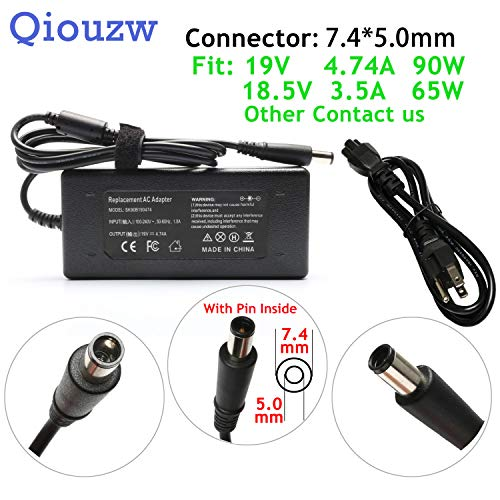 (90W 65W 19V 4.74A AC Adapter Charger for HP Elitebook 8460P 8440P 2540P 8470P 2560P 6930P 8560P 8540W 2570P 8540P 8570P 2760P 2170P 8530W 8560W 2530P 2560,Folio 9470,A6-5350M D8H46AV Power Cord)