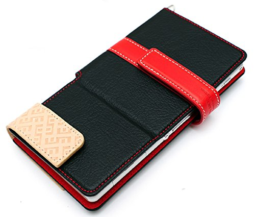 LIM's Special Two Size Dual Tone Synthetic Leather Type Diary Case for Smartphone (Black/Size S)