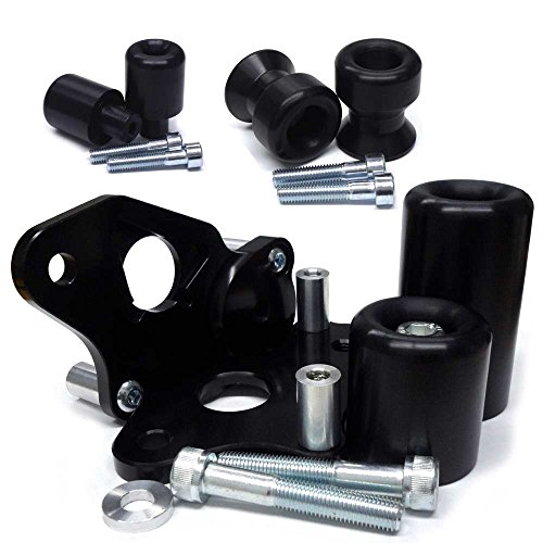 2006-2007 Suzuki GSXR600, 2006-2007 Suzuki GSXR750 Black Complete No Cut Frame Slider Kit; Includes: No Cut Frame Sliders, Swing Arm Spools and Bar Ends - 755-5419 - MADE IN THE USA (Frame Cut No Black 07)