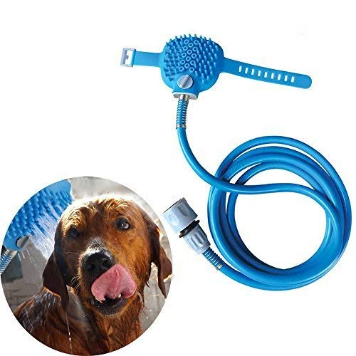 Pet Bathing Tool, Pet Shower Sprayer for Dog/Cat Combines Bathe, Shampoo, Massage with 7.5 Foot Hose and 2 Hose Adapters, Indoor and Outdoor Use