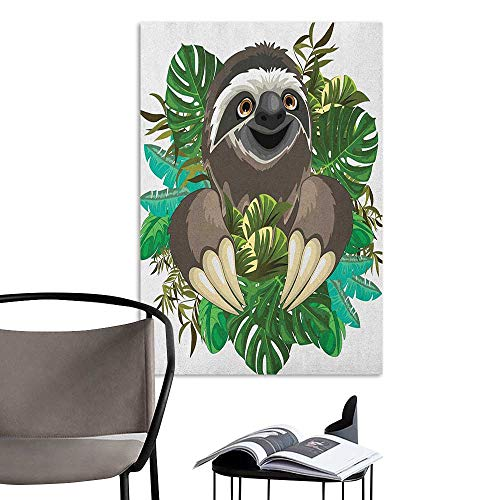 Jaydevn Stickers Wall Murals Decals Removable Sloth Cartoon Mammal on Tropical Jungle with Green Banana Leaves Cute Character Chocolate Green Ivory Large Removable Decals W8 x - Petty Chocolate