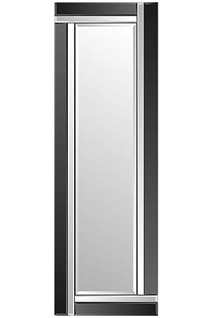 Miroir Mural Moderne Biseauté Sans Cadre 120 Cm X 40 Cm Noir Et