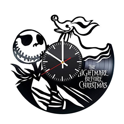 The Nightmare Before Christmas Vinyl Clock - Jack Skellington Halloween Town Vinyl Records Wall Art Room Decor Handmade Decoration Party Supplies Original Present for Fans - Vintage and Modern Style -