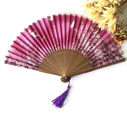 Rose Red Summer Art 21X38Cm Butterfly Print Fan Folding Hand Held Flower Fan Wedding Silk Hand Fans Decor by Hand Fan