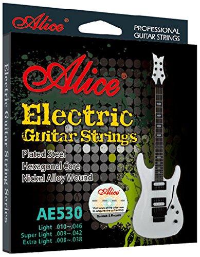 038 Nickel Electric Guitar Strings (Alice AE530 Hexagonal Core Steel Nickel Electric Guitar Strings 008 009 010 (Extra Light 008))