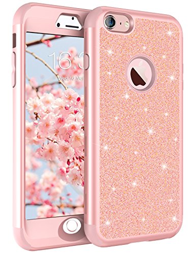 iPhone 8 Case, iPhone 7 Case Rose Gold for Women Girls, Tobomoco Shockproof Drop Protection 3 in 1 Glitter Bling Sparkly Hybrid Slim Hard Cover Soft Silicone Bumper Protective Case for iPhone 7/8