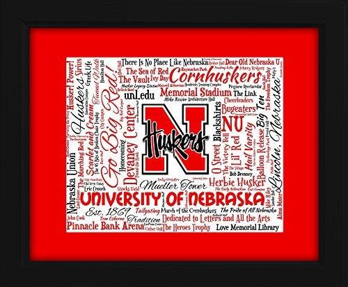 Cornhuskers Framed Nebraska (University of Nebraska 16x20 Art Piece - Beautifully matted and framed behind glass)