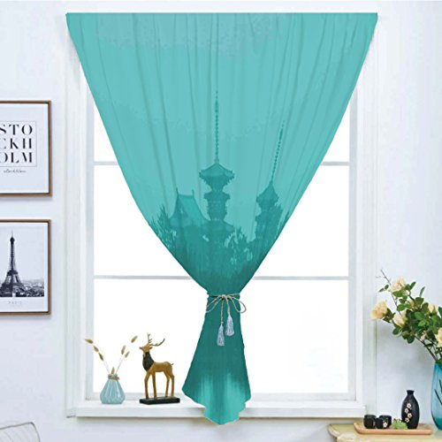 Blackout Curtain Free Punching Magic Stickers Window Curtain,Asian,Various Temples above the Sea Holy Tank in Fog Symbolic Faith Custom Pagoda Monochrome Decorative,Turquoise,for Living Room Bedroom, by iPrint