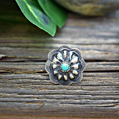 Genuine Sleeping Beauty Turquoise Concho Ring in 925 Oxidized Sterling Silver, Native American Handmade and Signed, Nickle Free for Sensitive Skin, Size 8.5, Bohemian Southwest Jewelry for Women