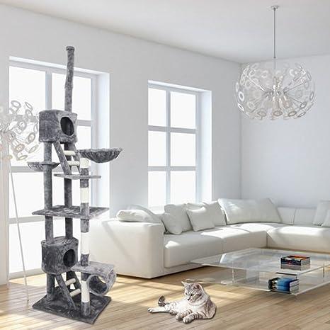 HENGDA® – 230 cm gris Rascador para gatos Árbol para gatos Árbol con cestas para