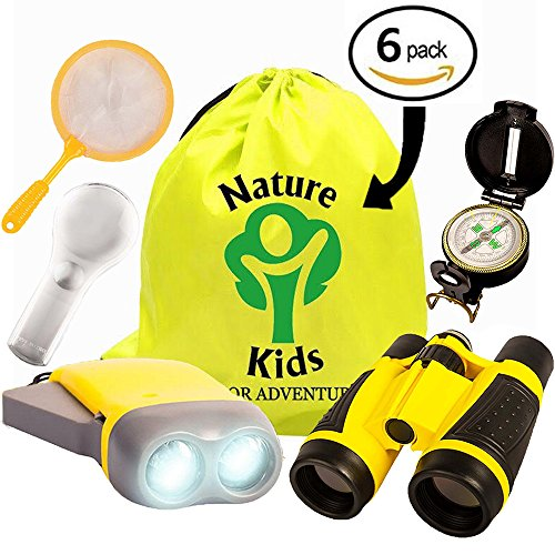 Adventure Kids - Educational Outdoor Children's Toys - Binoculars, Flashlight, Compass, Magnifying Glass, Butterfly Net & Backpack. Explorer Kit Great Kids Gift Set For Camping, Hiking & Pretend - How Size Read To Glasses