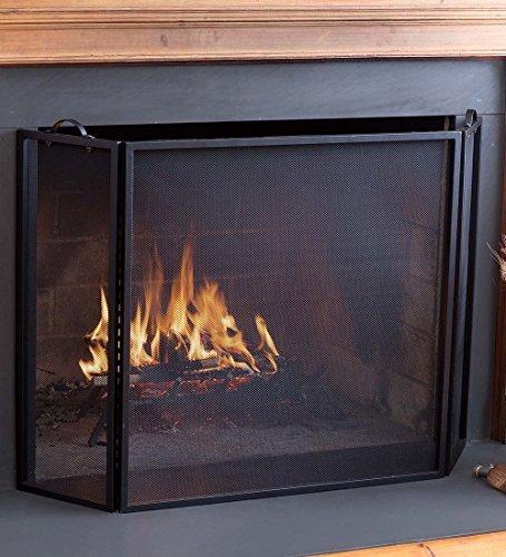 Plow & Hearth 3 Panel Flatguard Fireplace Screen, 50'' W x 30'' H, Black by Plow & Hearth
