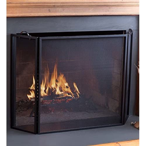 Image of Plow & Hearth 3 Panel Flatguard Fireplace Screen, 50' W x 30' H, Black