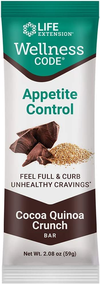 Life Extension Wellness Code Appetite Control Bars (Cocoa Quinoa Crunch) 12Count, Chocolate