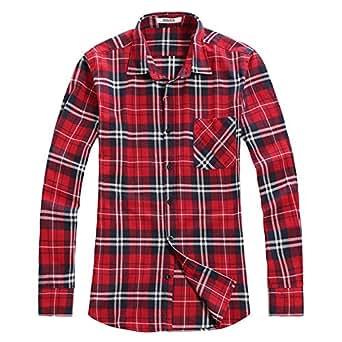 OCHENTA - Camisas casuales - Manga larga - Franela a cuadros - Hombres Classic Rojo Asia 2XL - EU Talla L