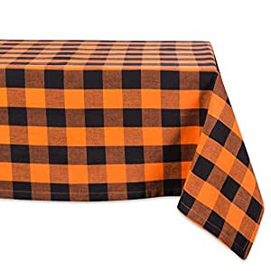 """DII 52x52"""" Square Cotton Tablecloth, Black & Orange Buffalo Check Plaid - Perfect for Halloween, Dinner Parties and Scary Movie Nights"""