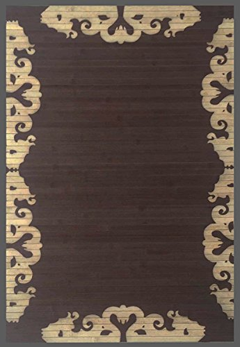 Natural Bamboo Area Rug W/Lace Printing Design. 24