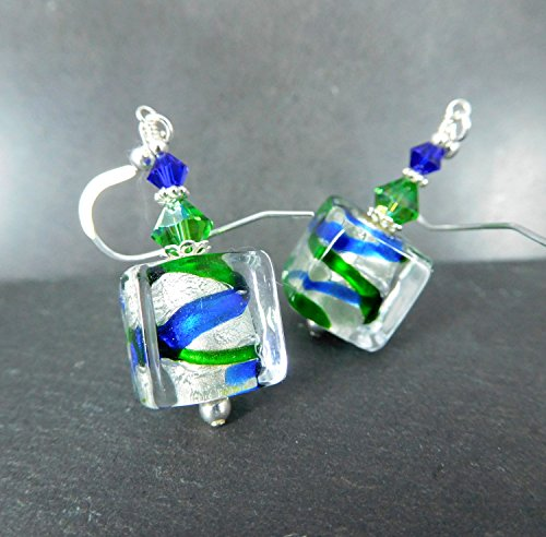 il Cube Shaped Murano Glass Crystal and Sterling Silver Dangle Earrings ()