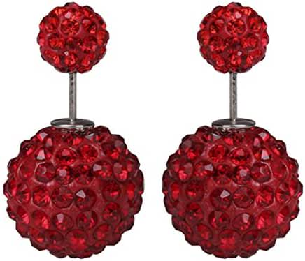 Luxury Women's Double Sided Ear Studs Charming Rhinestones Crystal Earrings Red