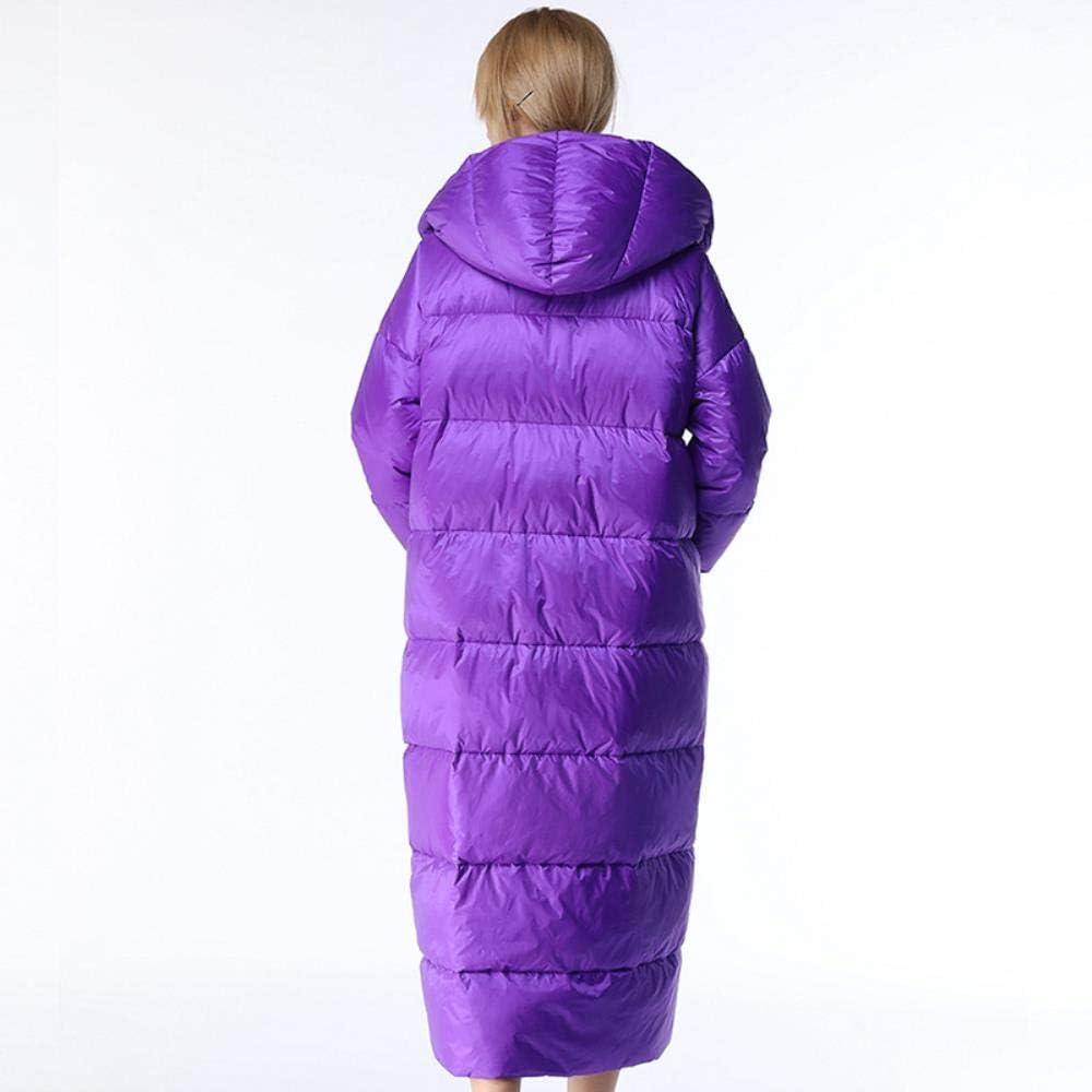 A-gavvzq Hiver Veste de Plume pour Les Femmes élégant Manteau de Canard de Section Longue Pourpre Violet avec Capuche Chaude et Manteau de Neige féminin Chaud Purple