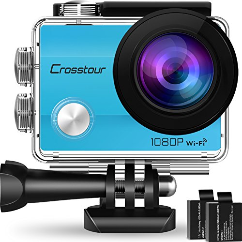 Crosstour Action Camera Underwater Cam WiFi 1080P Full HD 12MP Waterproof 30m 2″ LCD 170 degree Wide-angle Sports Camera with 2 Rechargeable 1050mAh Batteries and Mounting Accessory Kits (Blue)