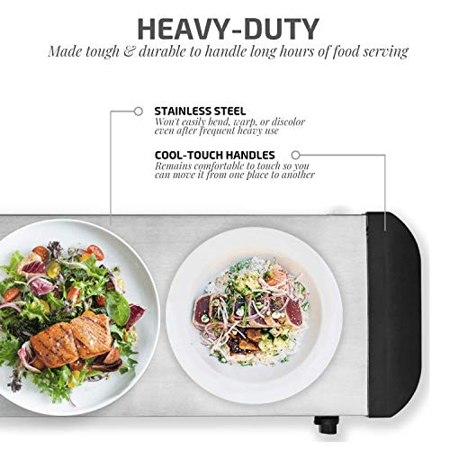 Ovente FW170S Electric Warming Tray, 17.0 × 9.6 Inches, Silver by Ovente (Image #3)