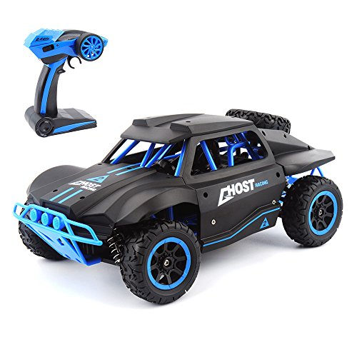 Gizmovine RC Cars 1/18 Scale 4WD High Speed Rock Crawler Vehicle 15.5MPH+ 2.4Ghz Radio Remote Control Off Road RTR Racing Monster Trucks Short Course Ghost Black & Blue
