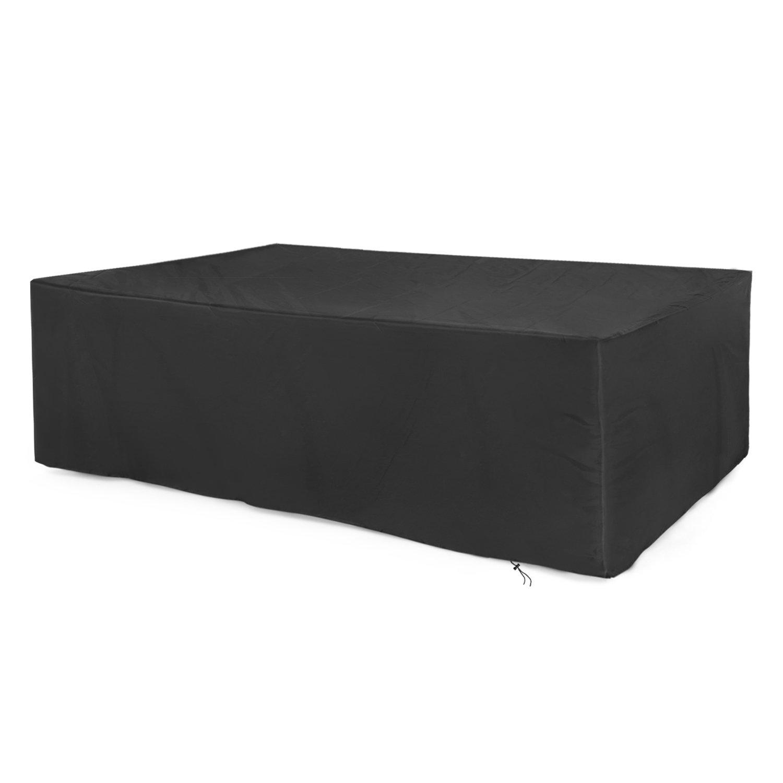 Dokon Outdoor Garden Furniture Cover, 420D Oxford Fabric Rectangular Patio Set Cover (200 x 160 x 70cm) - Black