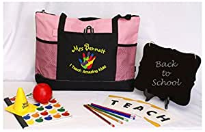 CUSTOMIZED Special ED Teacher Tote bag, education Autism puzzle hand gift (PINK)