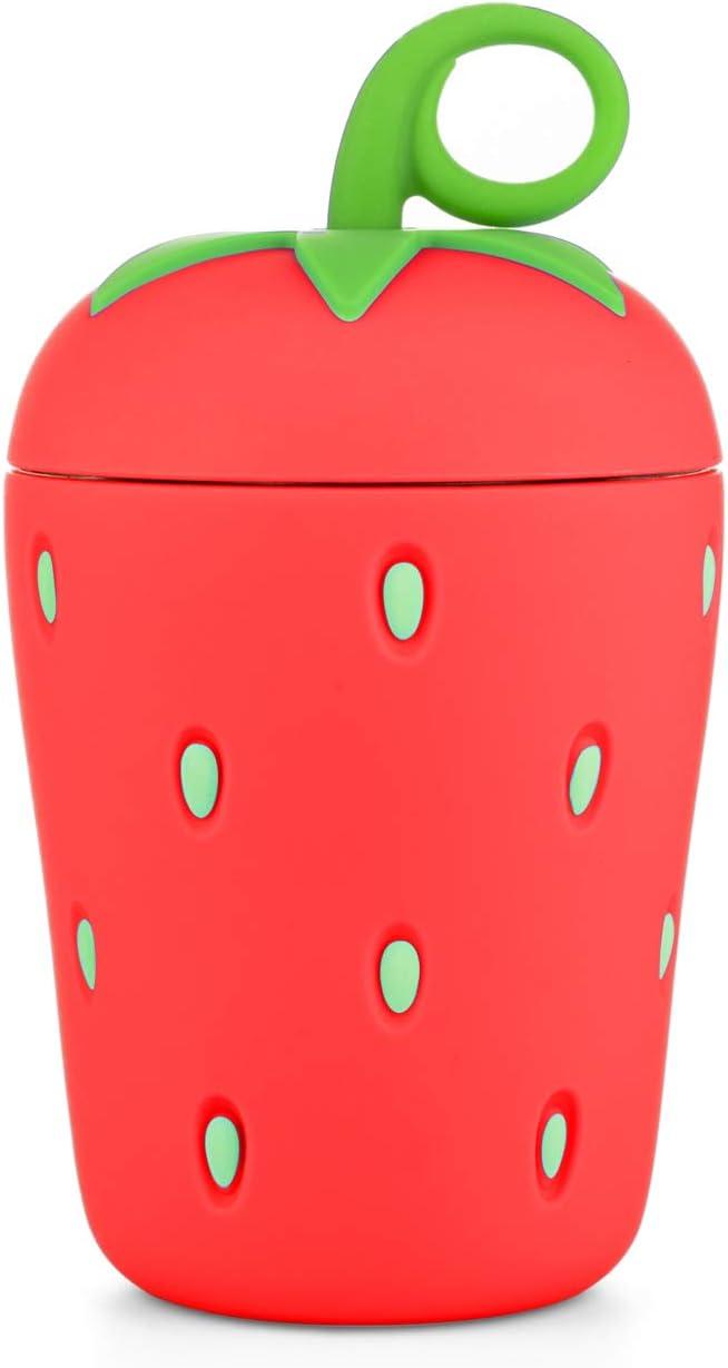 APIKA Linda Botella de Agua de Vidrio de Fresa Borosilicato de Pared Doble 300 ml Fácil de Llevar Adecuado para Regalos y Unisex para niño (Rojo)