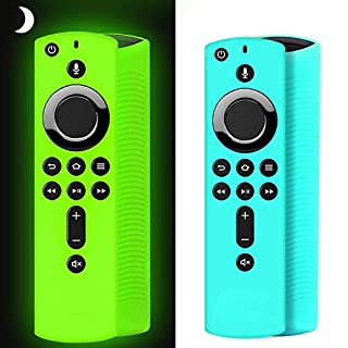 [2 Pack ] Firestick Remote Cover Case, Silicone Fire Remote Cover Case Compatible with 4K Firestv Stick, Firetv Remote Cover Case, Shockproof Firetv Remote Cover (Green Glow& Sky Blue Not Glow)