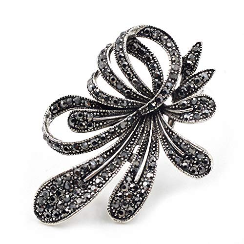 Black Silver Brooch - Jana Winkle Rhinestone Black Flower Brooches Women Vintage Antique Silver Brooch Pin Elegant Exquisite Broches Black
