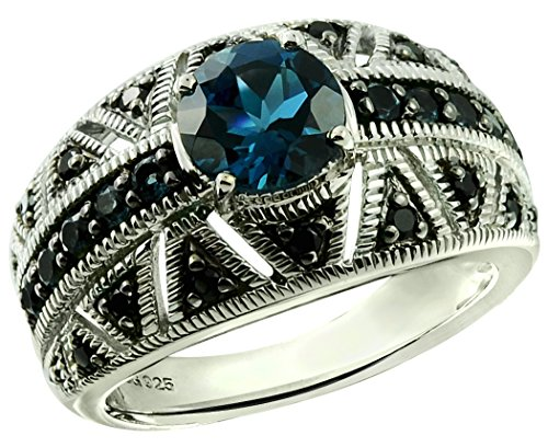 RB Gems Sterling Silver 925 Ring Genuine Gemstone Round 7 mm with Rhodium-Plated Finish, Band Style (7, London-Blue-Topaz)