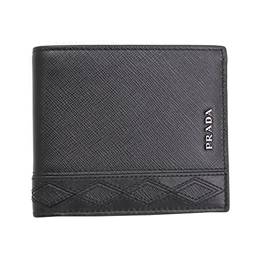 Prada Men's Saffiano Rombi Leather Bi-fold Wallet 2MO513 Nero