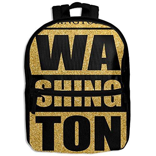 Washington D.C. Gold Glitter School Backpack Travel Bags Bookbag For (Washington Park Halloween Party)