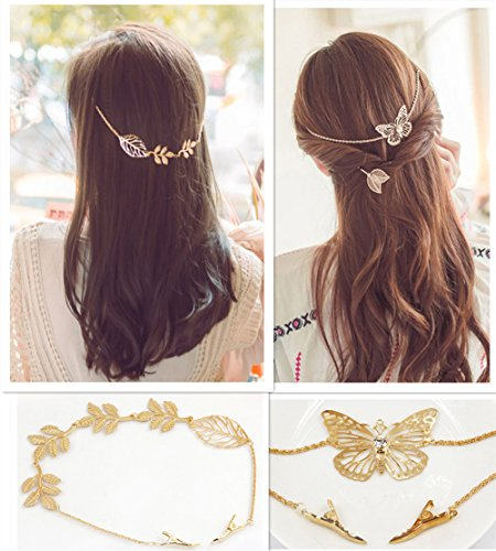 QTMY 2 Pcs Butterfly Leaves Branches Rhinestone Hair Clip Pin Hair Chain Jewelry Hair Accessories