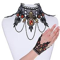 Zhenhui Halloween Spider Skull Bat Pendant Lace Choker Necklace Ring Bracelet Vintage Gothic Red Crystal Jewelry Set for Women