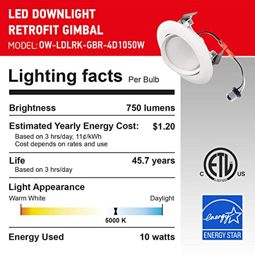 OSTWIN (12 Pack) 4 inch Dimmable LED Downlight Recessed Ceiling Light Fixture, Adjustable Gimbal Trim Kit Can Light, 10 W (75 Watt Replacement), 900 Lm, 5000K Daylight, ETL & Energy Star by OSTWIN (Image #6)