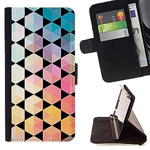 - Black Contrast Polygon Pattern - Estilo PU billetera de cuero del soporte del tir???¡¯???3n [solapa de cierre] Cubierta- For Samsung Galaxy S3 III I9300 ( Devil Case )