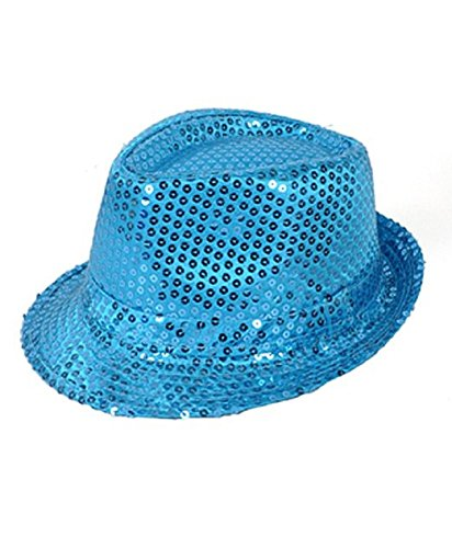 Solid Color Sequins Fedora Hat (Light Blue) -