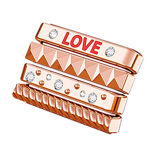 Lywey Personalize Love Bling Sparkles Loops Classic Stack Personalize Loop Rings Decoration for Apple Watch 44mm (44 MM, Rose Gold)