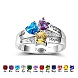 Personalized Simulated Birthstone Mothers Ring with Childrens Names Engraved Family Promise Rings for Her (7)