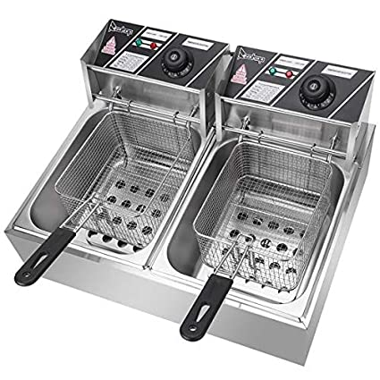 ZOKOP EH81 Thickened Single Cylinder Electric Fryer Stainless Steel Large Capacity With Basket Cooking /& Fried Chicken Row Machine 6.3QT//6L US Plug Silver